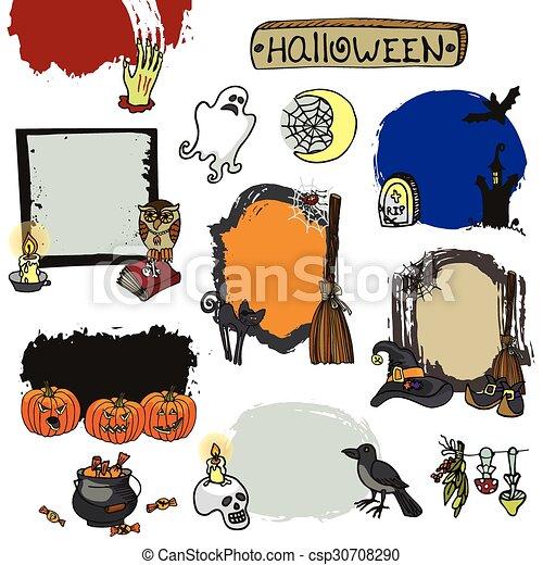 Lebeles de Halloween. Fideos aislados insignias - csp30708290