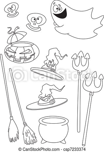 Halloween set outlined - csp7233374