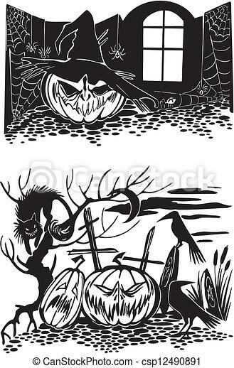Feliz Halloween. Vector fijado. - csp12490891
