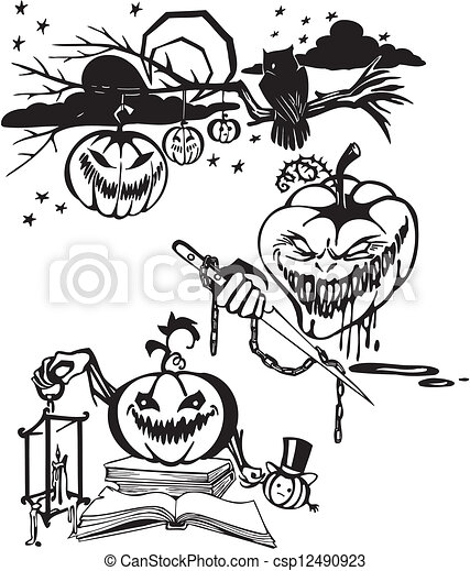 Feliz Halloween. Vector fijado. - csp12490923