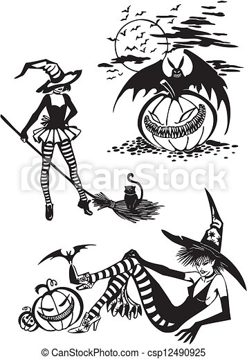 Feliz Halloween. Vector fijado. - csp12490925