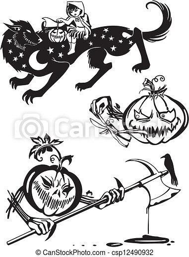 Feliz Halloween. Vector fijado. - csp12490932