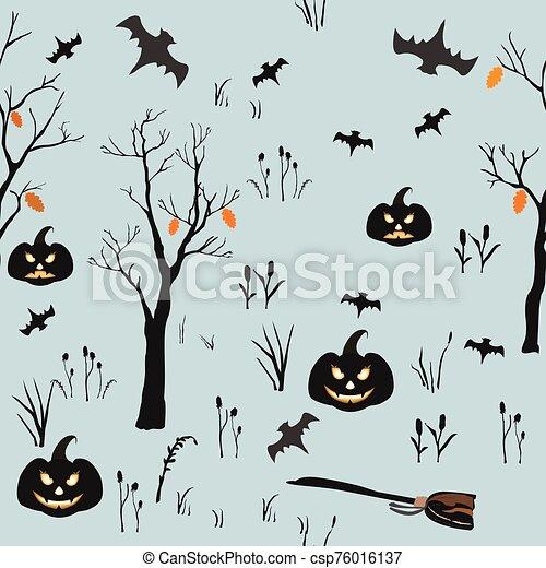halloween, set., vector, ilustración, elemento - csp76016137