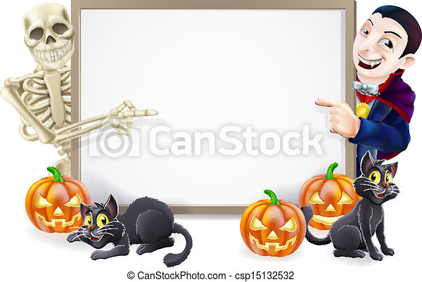 Halloween Sign with Skeleton and Dracula - csp15132532