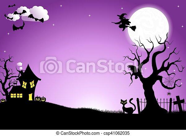 halloween silhouette background - csp41062035