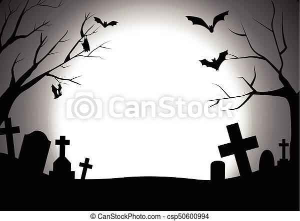 Halloween, silhouette, friedhof, hintergrund, glücklich.... EPS ...