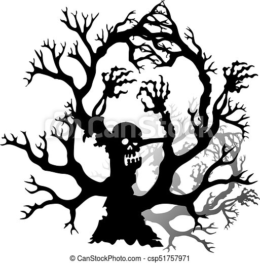 Halloween Silhouette Of A Scary Zombie Tree Without Leaves On