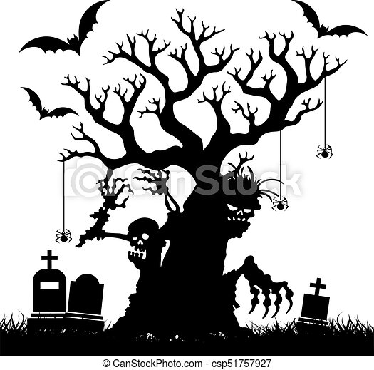 Halloween, Silhouette of a terrible bare tree without leaves in the  cemetery, on white background,