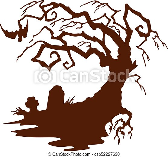 Halloween, silhouette scary tree without leaves, on white ...