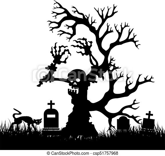 halloween silhouette scary zombie tree without leaves in cemetery