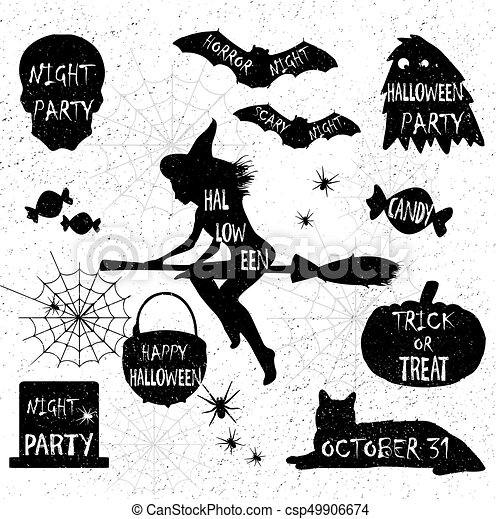 Halloween Trick Or Treat Silhouette.Halloween Silhouettes Witch Pumpkin Black Cat Halloween Party Spider Sticker Trick Or Treat
