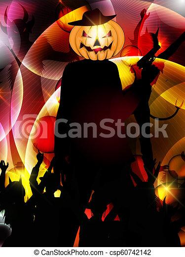 Antecedentes de Halloween con silueta de personas - csp60742142