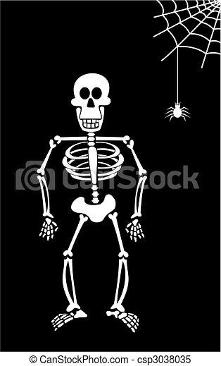 Halloween skeleton on black background. . Halloween skeleton ...