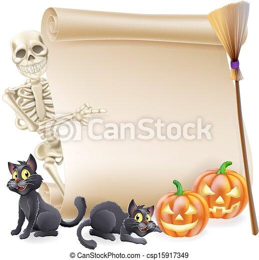 Halloween Skeleton Scroll Banner - csp15917349