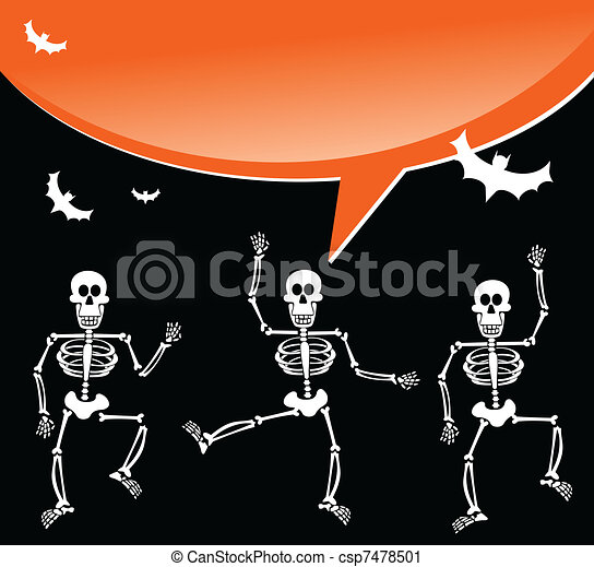Halloween skeletons with spiderweb and bubble background - csp7478501
