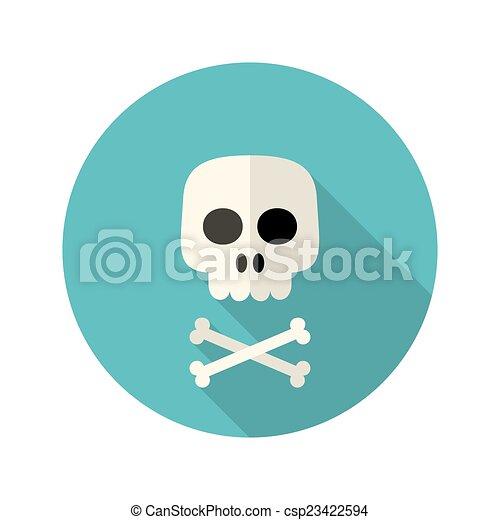 Halloween skull flat circle icon over blue - csp23422594