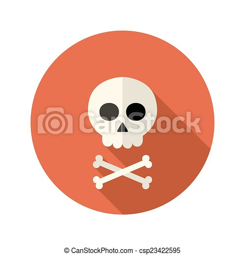 Halloween skull flat circle icon over red - csp23422595