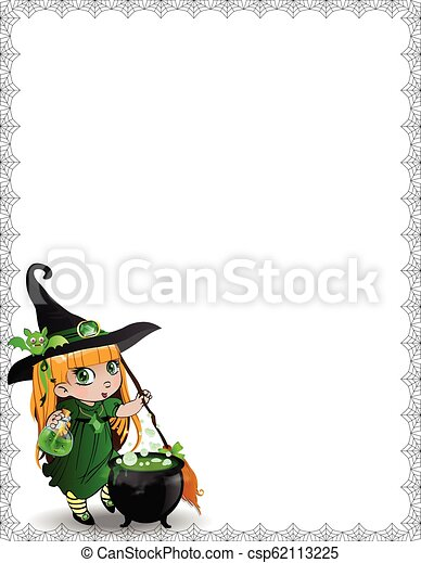 halloween spider web template of cute baby witch girll in green
