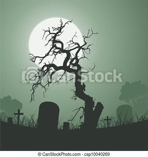 Halloween Spooky Dead Tree In Graveyard - csp10040269