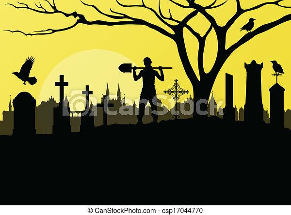 halloween spooky graveyard cemetery vintage background with rh canstockphoto com graveyard clipart black and white graveyard clipart black and white