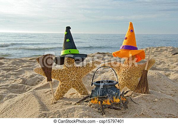 Halloween starfish on the beach - csp15797401