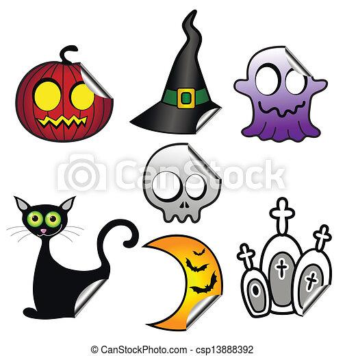Halloween stickers - csp13888392