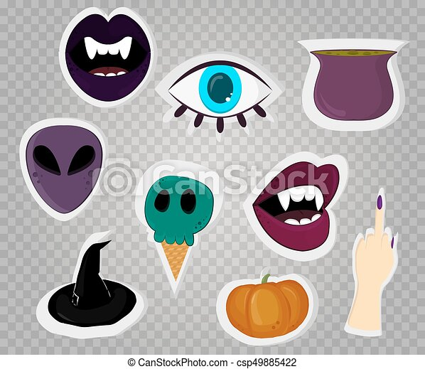 Halloween stickers on transparent background. Vector - csp49885422