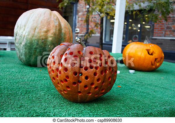Halloween still life with pumpkins - csp89908630