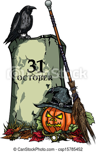 Illustration halloween symbols pumpkin jack-o-lantern, tomb ...