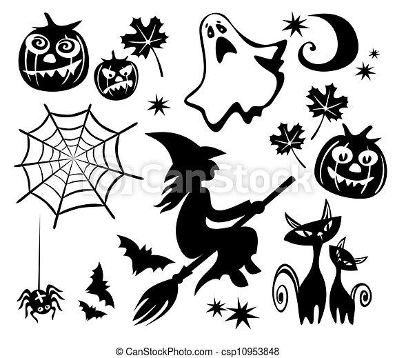Halloween symbols set. Halloween symbols set isolated on a ...