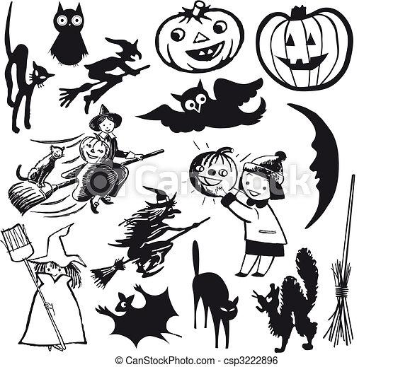 Set Of Vector Illustrations Halloween Theme Cartoon Clip Art Vector