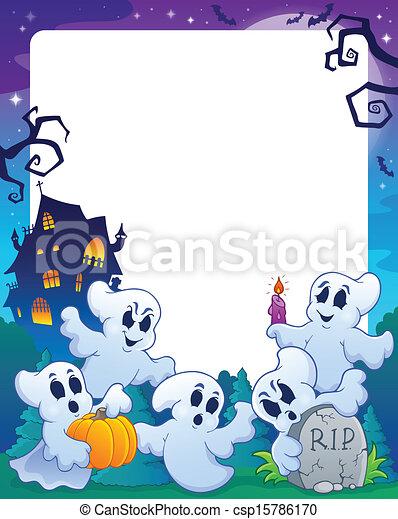 Halloween theme frame 1 - csp15786170
