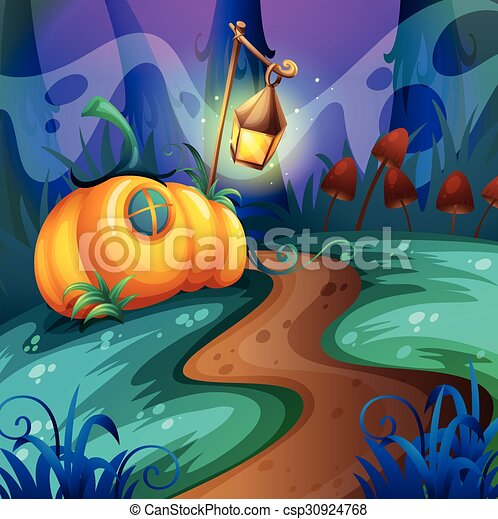Halloween theme with pumpkin in the field - csp30924768