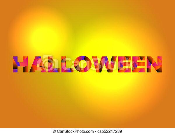 halloween theme word art illustration