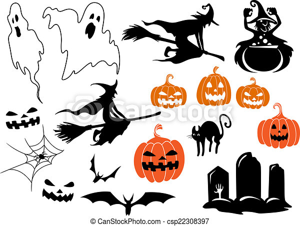 halloween themed design elements and characters csp22308397 - Halloween Themed Pictures