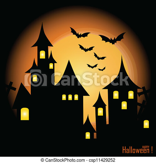 halloween themed design halloween background with haunted house bats and full moon vector - Halloween Themed Pictures