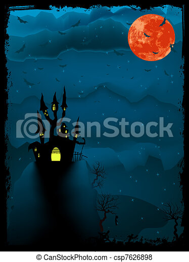 Halloween time spooky illustration. EPS 8 - csp7626898