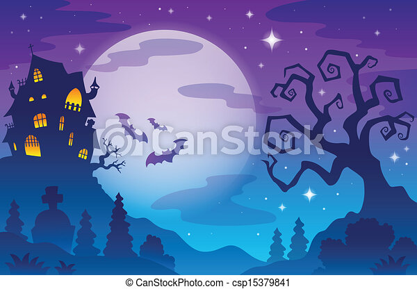 Halloween topic background 1 - csp15379841