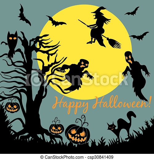 halloween tree flying witch ghost over moon night party card banner csp30841409
