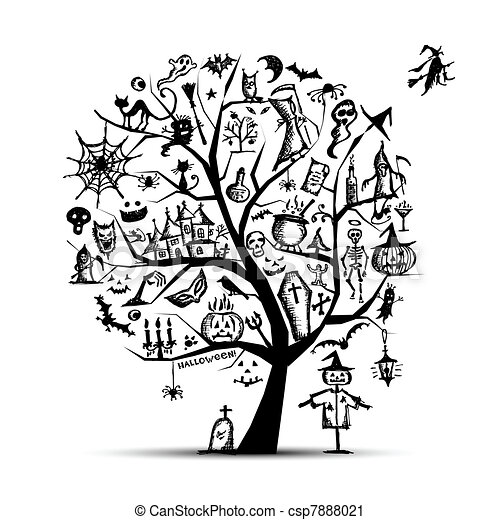 Halloween tree for your design - csp7888021