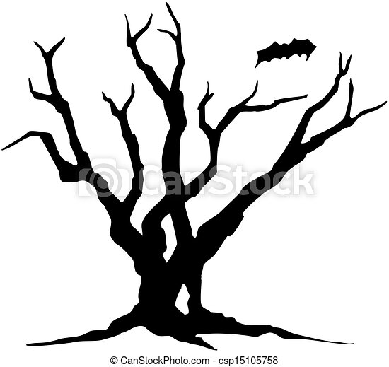 halloween tree silhouette csp15105758