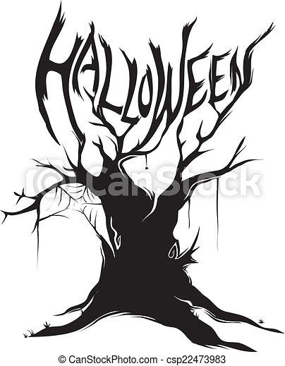 halloween tree silhouette csp22473983