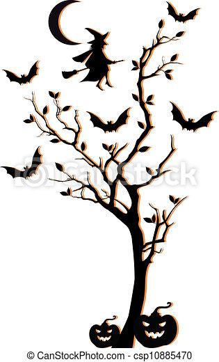 halloween tree vector background