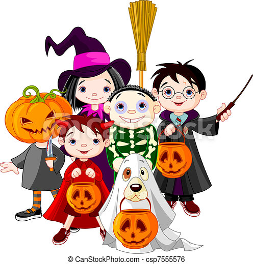 Halloween trick or treating childr - csp7555576