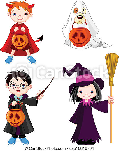 Halloween trick or treating childr - csp10816704