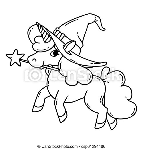 Halloween Unicorn With Magic Wand And Witch Hat