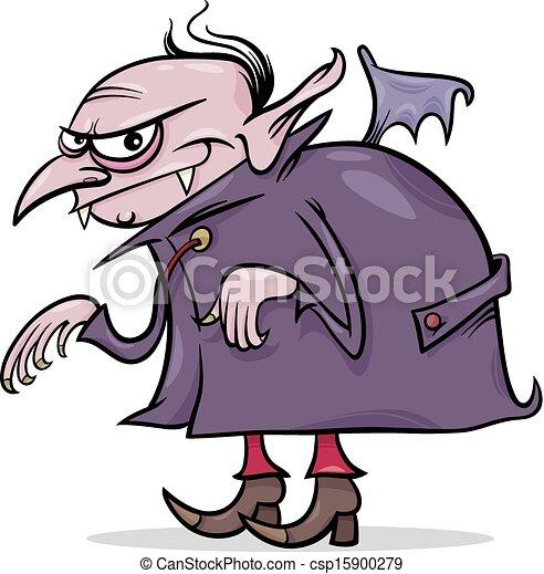 halloween vampire cartoon illustration - csp15900279