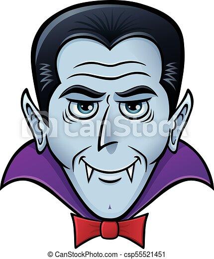 Halloween vampire face. Cartoon of a vampire for halloween.