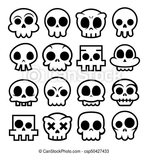halloween vector cartoon skull icons mexican cute sugar skulls