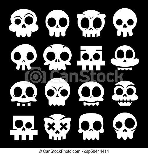 halloween vector cartoon skull icons mexican white cute sugar